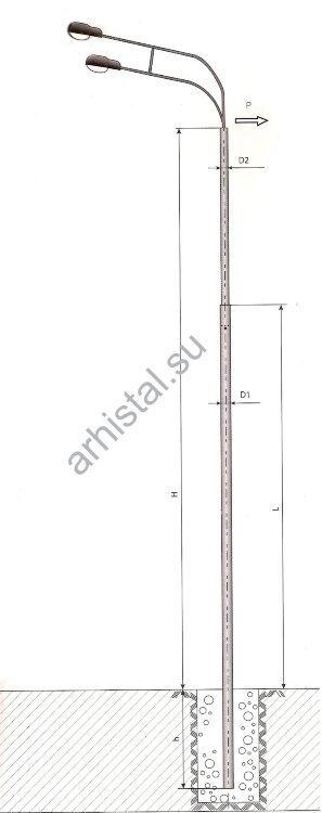 Опоры силовые прямостоечные трубчатые СП-700-8,5/11,0-(**)-ц