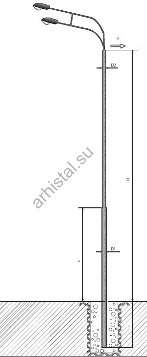 Опора ТП-1300-9,0/11,5-(**)-ц