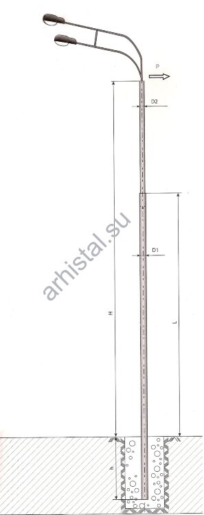 Опоры силовые прямостоечные трубчатые СП-400-9,0/11,0-(**)-ц