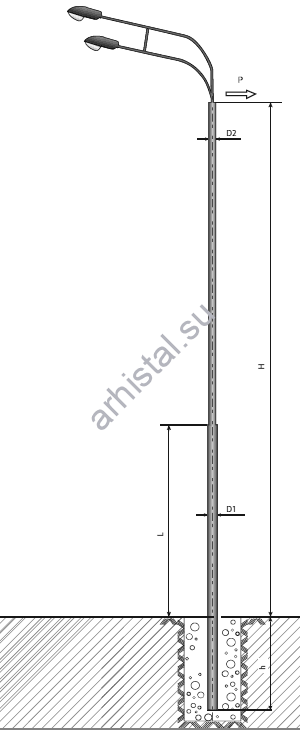 Опора ТП-2500-9,0/11,5-(**)-ц