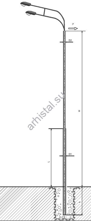 Опора ТП-1300-13,0/15,5-(**)-лк