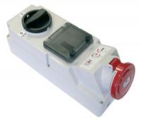 Розетка с выключателем с DIN-рейкой для монтажа на поверхность IP44