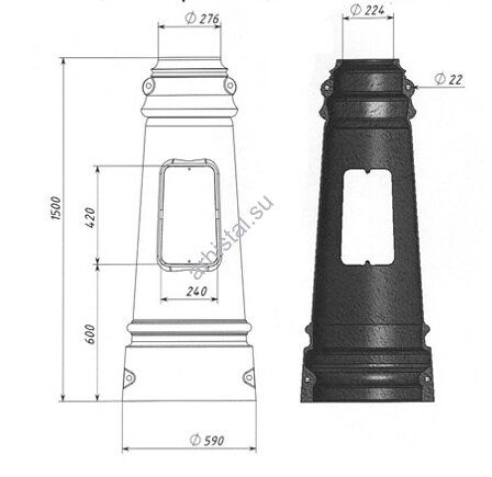Цоколь Ц-5, диаметр входной трубы 219 мм