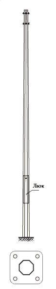 Многогранная силовая металлическая опора контактной сети МКС-10Ф-2,5