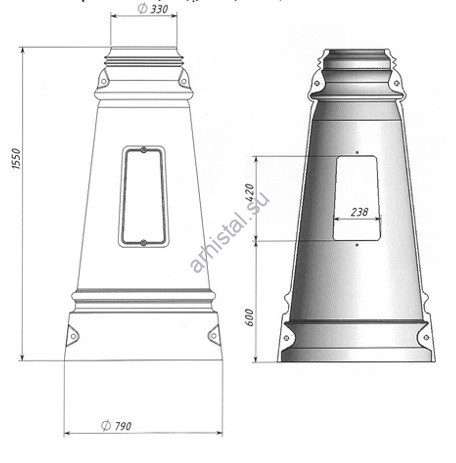 Цоколь Ц-6, диаметр входной трубы 273 мм