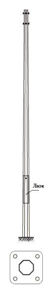Многогранная силовая металлическая опора контактной сети МКС -12Ф-1,3