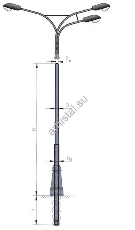 С воздушной подводкой кабеля, цилиндрическая опора ОС-0,4-9,0 составная